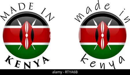 Simple Made in Kenya 3D button sign. Text around circle with Kenyan flag. Decent and casual font version. - Stock Photo