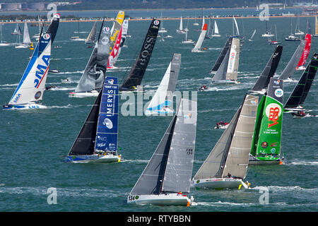 Royal Ocean Racing Club, RORC, First won by Jolie Brise in 1925.,Start of the 2017 Fastnet Race. Cowes, Isle of Wight, UK, - Stock Photo