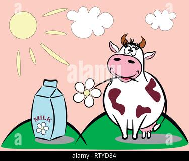 On a sunny meadow there is a cheerful cow with a flower in the teeth. Next a packet of milk. - Stock Photo