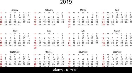Simple 2019 calendar, week starts on Sunday that is highlighted in red. - Stock Photo