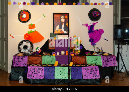 Paris, France, 10/27/2011 - Día de Muertos, cultural event organized by ACADAC and Off du Mexique: altar with offerings to the ancestors - Stock Photo