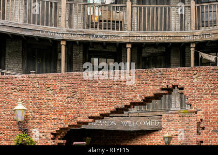 ORLANDO, FLORIDA, USA - DECEMBER, 2018: The Wizarding World of Harry Potter - Brick wall entrance at Diagon Alley, Universal Studios Florida. - Stock Photo
