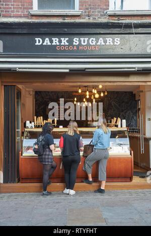 brick lane  chocalate shop    sugar - Stock Photo