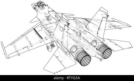 Air Jet Fighter with missiles on white background. Created illustration of 3d - Stock Photo