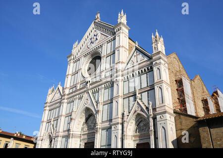 Basilica di Santa Croce (Basilica of the Holy Cross), principal Franciscan church in Florence, Italy. Neo-gothic facade. - Stock Photo
