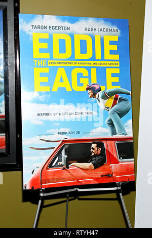 New York, USA. 02 Feb, 2016. Atmosphere at The Tuesday, Feb 2, 2016 'Eddie The Eagle' Screening at Landmark Sunshine Theater in New York, USA. Credit: Steve Mack/S.D. Mack Pictures/Alamy - Stock Photo