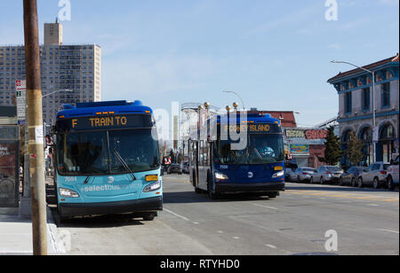 Like two halves of a couple, these Metropolitan Transportation Authority buses on Surf Avenue in Coney Island, Brooklyn, New York, appear to complete each other's thoughts, their digital/LED destination signs/indicators synching perfectly as the one in motion approaches the one that's parked, reading, from left to right, 'F TRAIN TO' and 'F CONEY ISLAND'. Structures appearing in the background of this peninsular community on the sunny winter February afternoon in 2019 include Brightwater Towers Condominium; Luna Park's historic wooden Cyclone roller coaster; and the Coney Island USA museum. - Stock Photo
