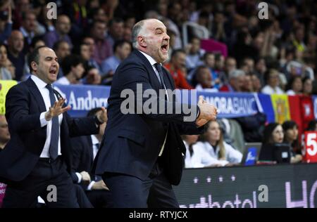 Andorra La Vella, Andorra,  03rd Mar, 2019. Real Madrid's basketball team head coach, Pablo Laso, during the Endesa League basketball match played against MoraBanc Andorra at Poliesportiu of Andorra, 03 March 2019. Credit: Fernando Galindo/EFE/Alamy Live News - Stock Photo