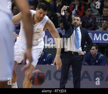 Andorra La Vella, Andorra,  03rd Mar, 2019. MoraBanc Andorra's basketball team head coach, Ibon Navarro, during the Endesa League basketball match played against Real Madrid at Poliesportiu of Andorra, 03 March 2019. Credit: Fernando Galindo/EFE/Alamy Live News - Stock Photo