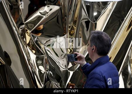 Madrid, Spain. 03rd Mar, 2019. People observe some of the artworks displayed as part of the 38th edition of ARCO Contemporary Art Fair during its closure in Madrid, Spain, 03 March 2019. Credit: Javier Lizon/EFE/Alamy Live News - Stock Photo
