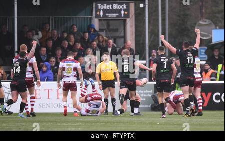 Trailfinders Sports Ground, London, UK. 3rd Mar, 2019. Betfred Super League rugby, London Broncos versus Wigan Warriors; London Broncos celebrate scoring their first try Credit: Action Plus Sports/Alamy Live News - Stock Photo