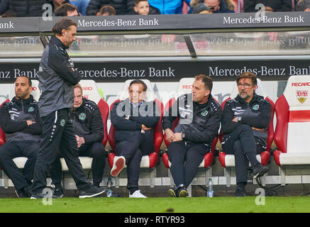 Stuttgart, Germany . 03rd Mar, 2019. Thomas DOLL, H96  headcoach, coach, team manager, Horst Heldt, Hannover 96 Sportdirektor, Gerhard Zuber, Assistent, sad, disappointed, angry, Emotions, disappointment, frustration, frustrated, sadness, desperate, despair,  VFB STUTTGART - HANNOVER 96  - DFL REGULATIONS PROHIBIT ANY USE OF PHOTOGRAPHS as IMAGE SEQUENCES and/or QUASI-VIDEO -  DFL 1.German Soccer League , Stuttgart, March 3, 2019,  Season 2018/2019, matchday 24, H96 Credit: Peter Schatz/Alamy Live News - Stock Photo