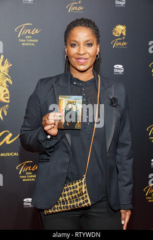 Hamburg, Germany. 03rd Mar, 2019. Liz Baffoe, actress, comes to the German premiere of the musical 'Tina - Das Tina Turner Musical' at the Operettenhaus. Credit: Georg Wendt/dpa/Alamy Live News - Stock Photo