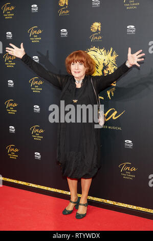 Hamburg, Germany. 03rd Mar, 2019. Hannelore Hoger, actress, comes to the German premiere of the musical 'Tina - Das Tina Turner Musical' at the Operettenhaus. Credit: Georg Wendt/dpa/Alamy Live News - Stock Photo