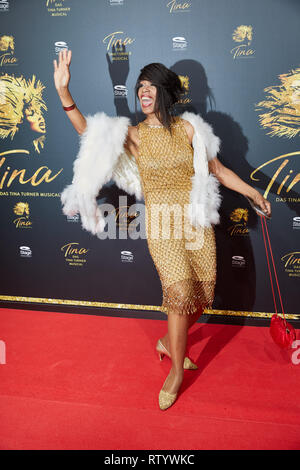 Hamburg, Germany. 03rd Mar, 2019. Love Newkirk, singer, comes to the German premiere of the musical 'Tina - Das Tina Turner Musical' at the Operettenhaus. Credit: Georg Wendt/dpa/Alamy Live News - Stock Photo