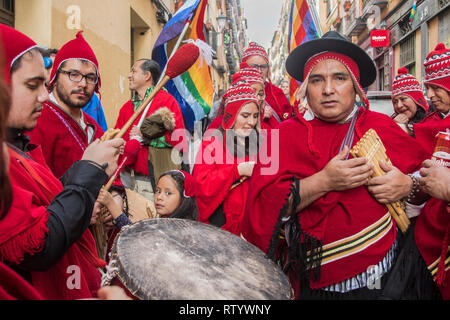 Madrid, Spain. 03rd Mar, 2019. Multicultural carnival on the streets of the neighbourhood of Lavapiés. In the picture a group of musicians from Peru Credit: Alberto Sibaja Ramírez/Alamy Live News - Stock Photo