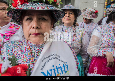 Madrid, Spain. 03rd Mar, 2019. Multicultural carnival on the streets of the neighbourhood of Lavapiés. In the picture a group of dancers from Peru. Credit: Alberto Sibaja Ramírez/Alamy Live News - Stock Photo