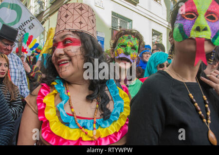 Madrid, Spain. 03rd Mar, 2019. Multicultural carnival on the streets of the neighbourhood of Lavapiés. In the picture a group of musicians with mask of pachamama Credit: Alberto Sibaja Ramírez/Alamy Live News - Stock Photo
