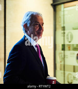 London, UK. 03rd Mar, 2019. 3rd March 2019.  Ex Prime Minister Sir Tony Blair arrives at the  BBC Broadcasting House before appearing on the Andrew Marr show, London Credit: Thomas Bowles/Alamy Live News - Stock Photo