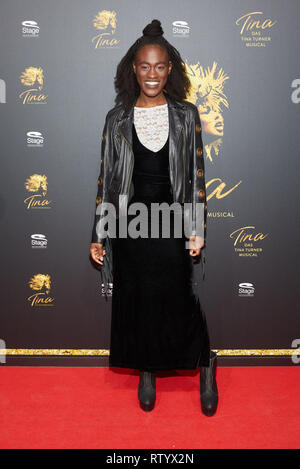 Hamburg, Germany. 03rd Mar, 2019. Ivy Quaino, singer, comes to the German premiere of the musical 'Tina - Das Tina Turner Musical' at the Operettenhaus. Credit: Georg Wendt/dpa/Alamy Live News - Stock Photo