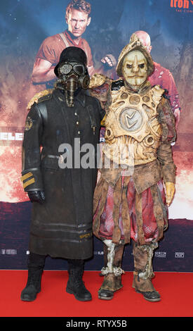 Berlin, Germany. 03rd Mar, 2019. Two more characters on the red carpet of the movie premiere of 'Iron Sky: The Coming Race Credit: Annette Riedl/dpa/Alamy Live News - Stock Photo