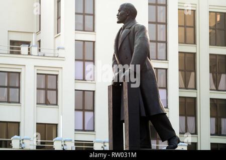 Lenin Monument at Independence Square, Minsk, Belarus - Stock Photo