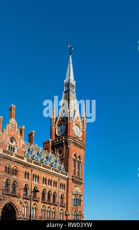 London St Pancras International Station a Neo-Gothic clock tower building in Kings Cross, London, England - Stock Photo
