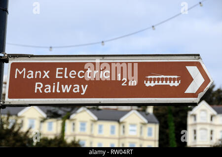A  Manx Electric Railway road sign in Douglas in the Isle of Man,Britain - Stock Photo