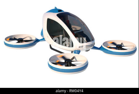Electric Passenger Drone on white background. This is a 3D model and doesn't exist in real life. 3D illustration - Stock Photo