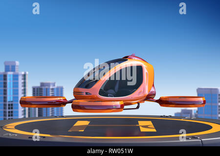 Passenger Drone landing on the top of a building. This is a 3D model and doesn't exist in real life. 3D illustration - Stock Photo