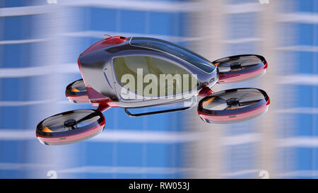 Electric Passenger Drone flying in front of buildings. This is a 3D model and doesn't exist in real life. 3D illustration - Stock Photo