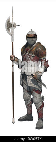 soldier with armor armed with a large halberd and dagger.A medieval warrior. - Stock Photo