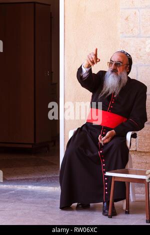 Midyat, Mardin Province, southeastern Turkey : Mor Timotheus Samuel Aktas, Metropolitan Archbishop of Tur Abdin at the Mor Gabriel Monastery. Founded  - Stock Photo