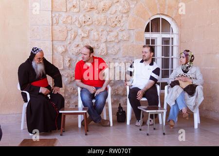 Midyat, Mardin Province, southeastern Turkey : Mor Timotheus Samuel Aktas, Metropolitan Archbishop of Tur Abdin receives visitors at the Mor Gabriel M - Stock Photo
