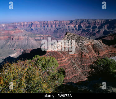 USA, Arizona, Grand Canyon National Park, Freya Castle (center) and distant Colorado River, view southeast from Cape Royal, North Rim. - Stock Photo