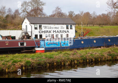 Chirk narrowboat marina on the Llangollen canal in North Wales UK - Stock Photo