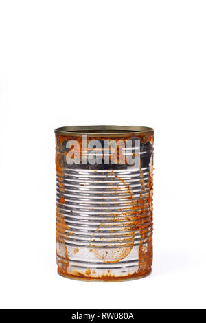 Upright standing rusty tin can isolated on white background, clipping path included - Stock Photo