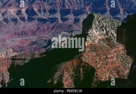 USA, Arizona, Grand Canyon National Park, Freya Castle towers above distant Colorado river, view southeast from near Cape Royal; North Rim. - Stock Photo