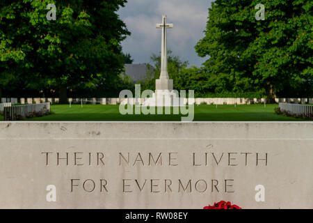 The Stone of Remembrance with 'Their Name Liveth For Evermore' inscribed in the Bayeux War Cemetery Commonwealth Cemetery, Bayeux, Normandy, France. - Stock Photo