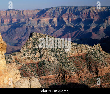 USA, Arizona, Grand Canyon National Park, Freya Castle and distant Colorado river, view southeast from near Cape Royal; North Rim. - Stock Photo