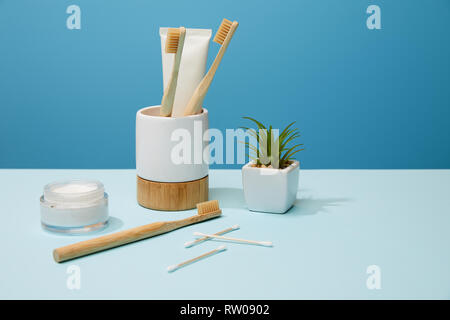 holder for toothbrushes, cosmetic cream and plant in pot on table and blue background - Stock Photo