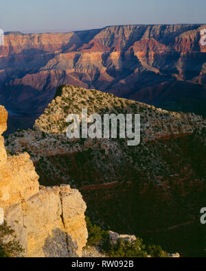 USA, Arizona, Grand Canyon National Park, Freya Castle, evening shadows and distant Colorado river, view southeast from near Cape Royal; North Rim. - Stock Photo