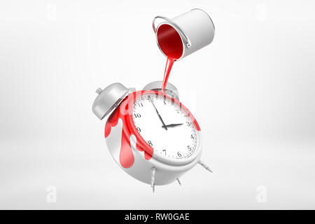 3d rendering of paint can spilling red paint on white alarm clock in mid-air on white background. - Stock Photo