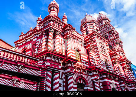 View on Jami-Ul-Alfar Mosque or Red Masjid Mosque is a historic mosque in Colombo, Sri Lanka - Stock Photo