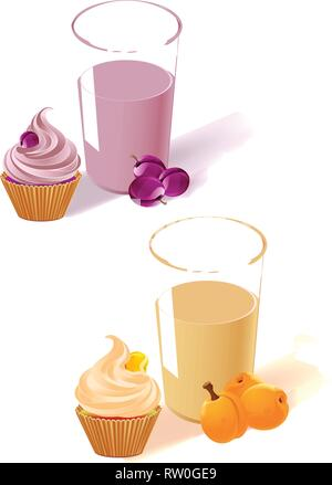 The illustration shows the plum and apricot yogurt in a glass, fruit and cake. Made isolated on white background, on separate layers. - Stock Photo