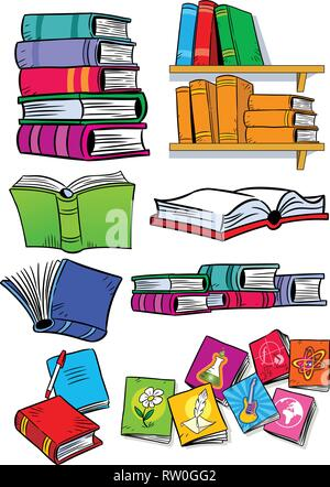 On vector illustration shows some types of books. Objects isolated on a white background, on separate layers, in a cartoon style. - Stock Photo