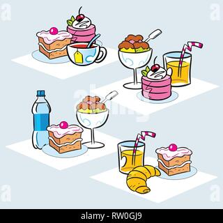 The illustration shows some types of cakes, desserts, ice cream and drinks. Illustration done in cartoon style, on separate layers. - Stock Photo