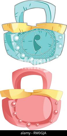 The illustration shows two hinged closed lock. One glamorous pink and the second metal. Illustration done in cartoon style on white background. - Stock Photo