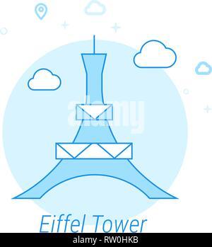 Eiffel Tower, Paris Flat Vector Icon. Historical Landmarks Related Illustration. Light Flat Style. Blue Monochrome Design. Editable Stroke. - Stock Photo