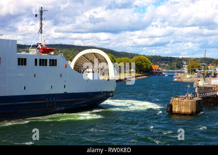 Car Ferry Boat With Door Open At Night In Port Of